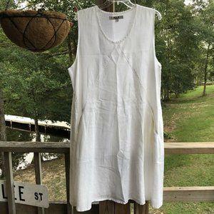 Flax Cream Off-White Linen Midi Dress Lagenlook L